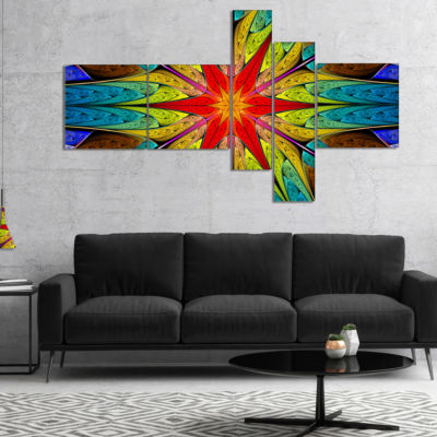 Designart Stained Glass With Bright Red Star Multipanel Abstract Wall Art Canvas - 5 Panels