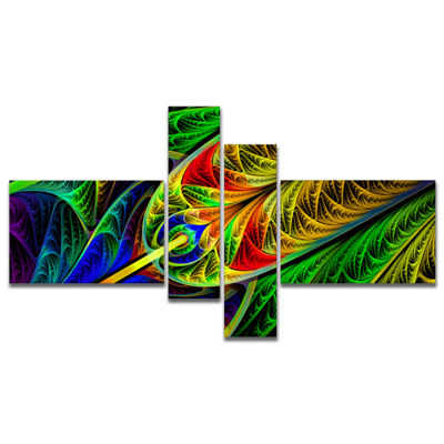 Designart Stained Glass With Glowing Designs Multipanel Abstract Wall Art Canvas - 4 Panels