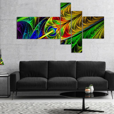 Designart Stained Glass With Glowing Designs Multipanel Abstract Wall Art Canvas - 5 Panels