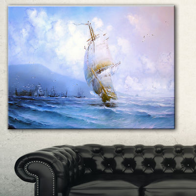 Designart Vessel In Blue Sea Seascape Canvas Art Print - 3 Panels