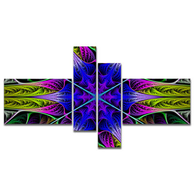 Designart Star Shaped Blue Stained Glass Multipanel Abstract Canvas Art Print - 4 Panels