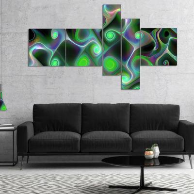 Designart Dark Green Fractal Swirls Multipanel Abstract Wall Art Canvas - 5 Panels