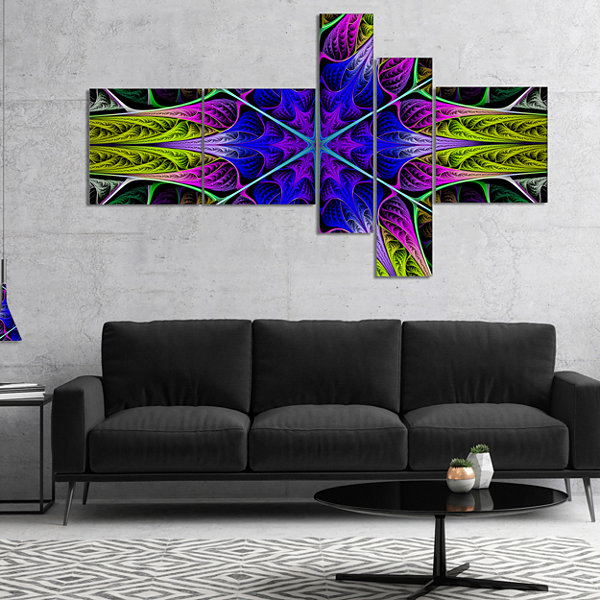 Designart Star Shaped Blue Stained Glass Multipanel Abstract Canvas Art Print - 5 Panels