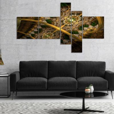 Designart Dark Green Gold Fractal Flower Multipanel Abstract Wall Art Canvas - 5 Panels