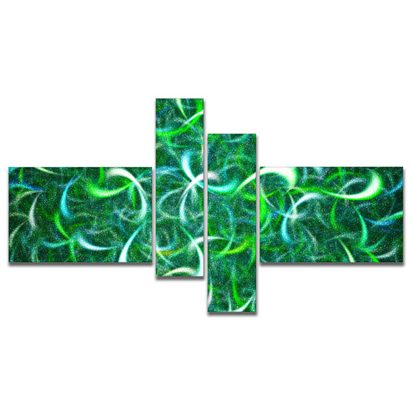 Designart Dark Green Watercolor Fractal Art Multipanel Abstract Art On Canvas - 4 Panels