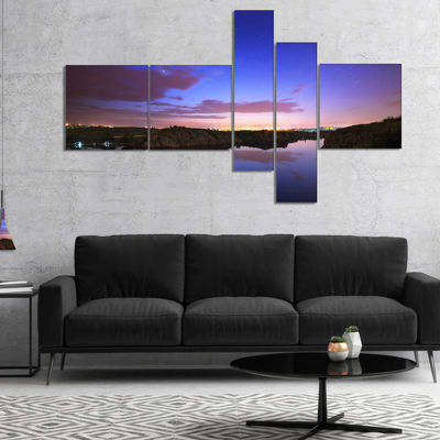 Designart Stars And Clouds Reflection Multipanel Landscape Photography Canvas Print - 4 Panels