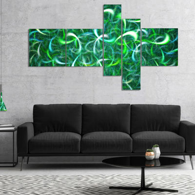 Designart Dark Green Watercolor Fractal Art Multipanel Abstract Art On Canvas - 5 Panels
