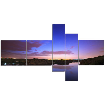 Designart Stars And Clouds Reflection Multipanel Landscape Photography Canvas Print - 5 Panels