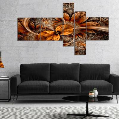 Designart Dark Orange Fractal Flower Multipanel Abstract Canvas Art Print - 4 Panels