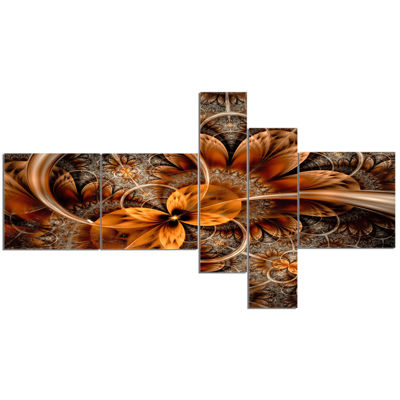 Designart Dark Orange Fractal Flower Multipanel Abstract Canvas Art Print - 5 Panels