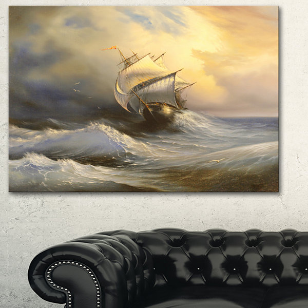Designart PT6324 Vessel In Stormy Sea Seascape Canvas Art Print