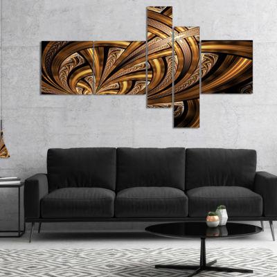 Designart Dark Orange Fractal Flower Multipanel Abstract Wall Art Canvas - 5 Panels