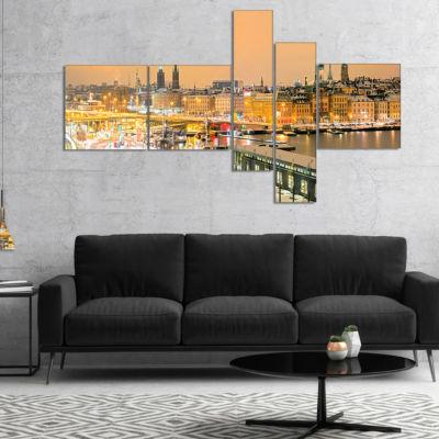 Designart Stockholm Cityscape Panorama MultipanelCityscape Photo Canvas Print - 4 Panels