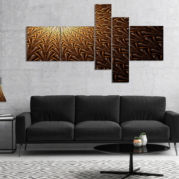 Designart Dark Orange Fractal Flower Pattern Multipanel Abstract Wall Art Canvas - 5 Panels