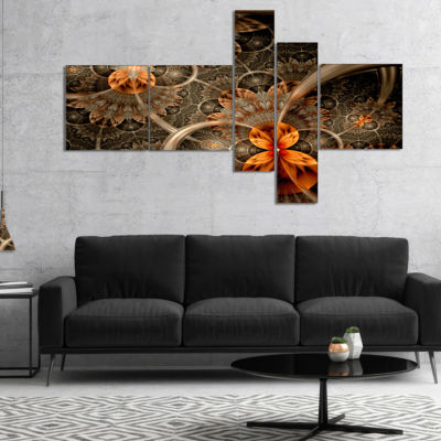 Designart Dark Orange Symmetrical Flower Multipanel Abstract Wall Art Canvas - 4 Panels