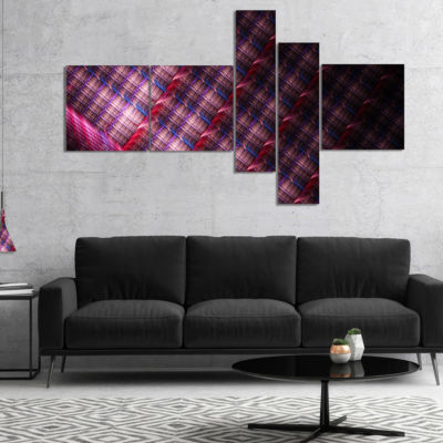 Designart Dark Pink Abstract Metal Grill Multipanel Abstract Art On Canvas - 5 Panels