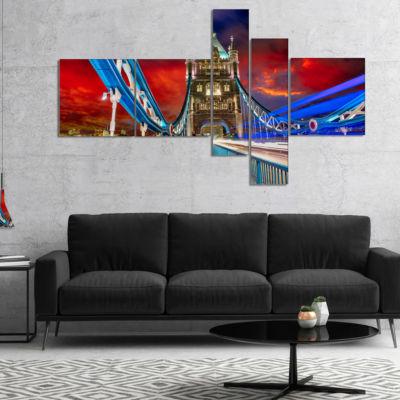 Designart Storm Over Tower Bridge At Night Multipanel Cityscape Photo Canvas Print - 5 Panels