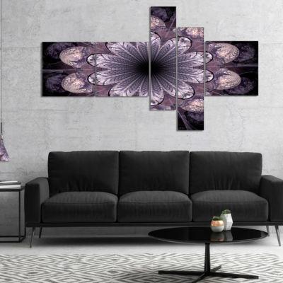 Designart Dark Pink Fractal Flower Pattern Multipanel Abstract Canvas Art Print - 5 Panels