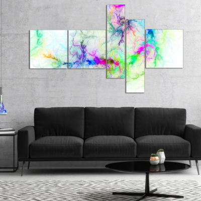 Design Art Stormy Sky Fierce Lightning MultipanelAbstract Art On Canvas - 5 Panels
