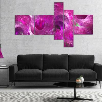 Designart Dark Pink Fractal Glass Texture Multipanel Abstract Canvas Art Print - 4 Panels
