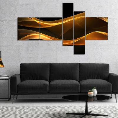 Designart Straight Pink Waves Multipanel AbstractCanvaS Art Print - 4 Panels