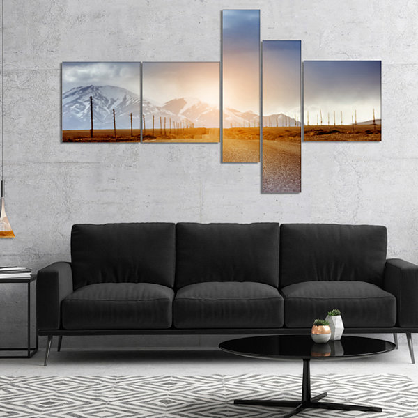 Designart Straight Road Under Blue Sky MultipanelLandscape Canvas Art - 5 Panels
