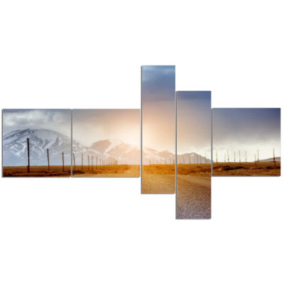Design Art Straight Road Under Blue Sky MultipanelLandscape Canvas Art - 5 Panels
