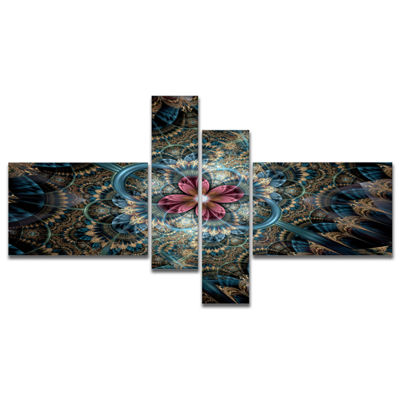 Designart Dark Purple Fractal Flower Multipanel Large Floral Art Canvas Print - 4 Panels