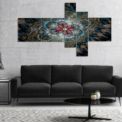 Designart Dark Purple Fractal Flower Multipanel Large Floral Art Canvas Print - 5 Panels