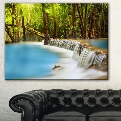 Designart View Of Huai Mae Kamin Waterfall Photography Canvas Art Print - 3 Panels