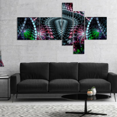 Designart Strange Fractal Design On Black Multipanel Abstract Wall Art Canvas - 5 Panels