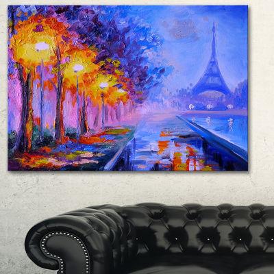 Designart View Of Paris Eiffel Tower Landscape ArtPrint Canvas - 3 Panels