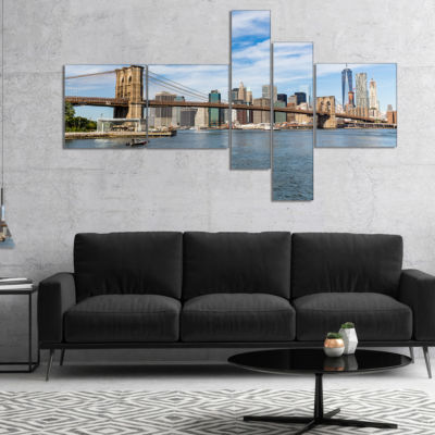 Designart Summer Day Brooklyn Bridge Multipanel Cityscape Canvas Print - 4 Panels