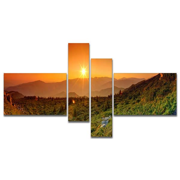 Designart Summer In Mountains Panorama MultipanelAbstract Wall Art Canvas - 4 Panels