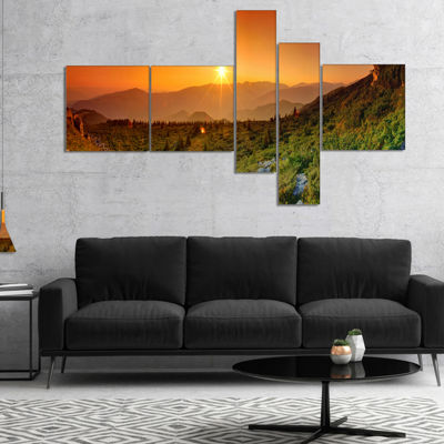 Designart Summer In Mountains Panorama MultipanelAbstract Wall Art Canvas - 5 Panels