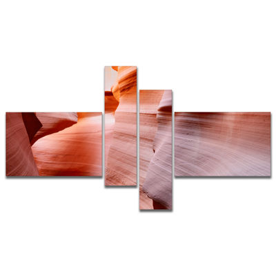 Designart Sun Rays In Antelope Canyon Multipanel Landscape Photography Canvas Print - 4 Panels
