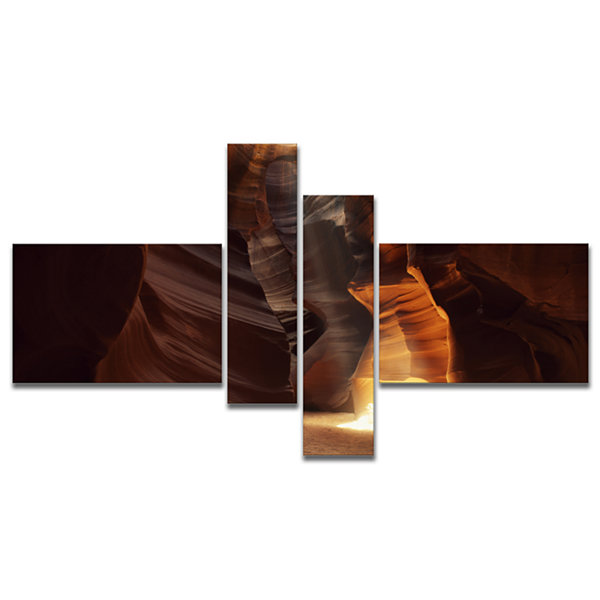 Designart Sunbeam In Antelope Canyon Multipanel Landscape Photography Canvas Print - 4 Panels