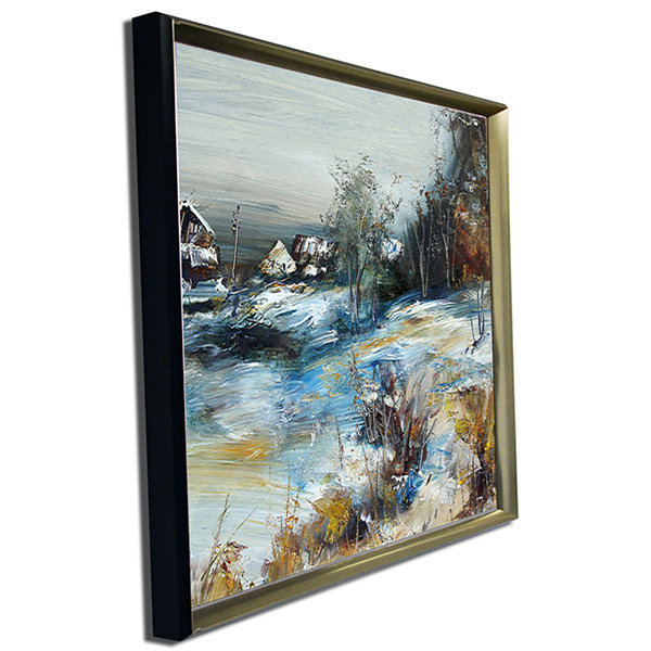 Designart Village In Winter Landscape Art Print Canvas