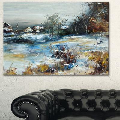 Designart Village In Winter Landscape Art Print Canvas - 3 Panels