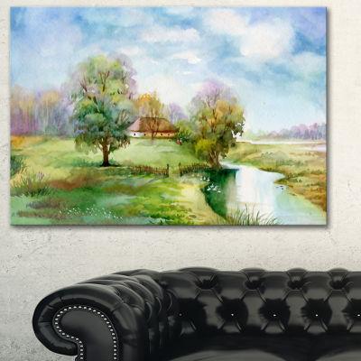Designart Village Life Landscape Art Print Canvas-3 Panels