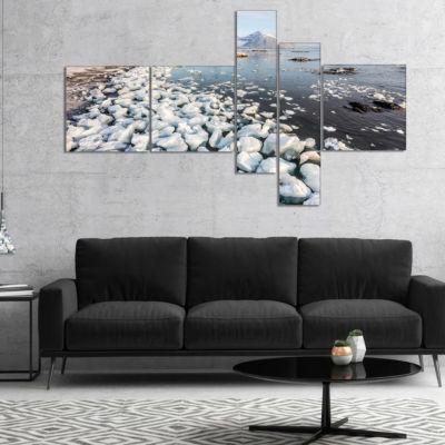 Designart Sunny Morning In Arctic Spitsbergen Multipanel Landscape Canvas Art - 5 Panels
