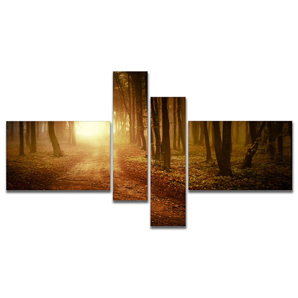 Designart Sunrise In Foggy Forest Multipanel Landscape Photography Canvas Print - 4 Panels