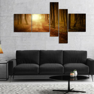 Designart Sunrise In Foggy Forest Multipanel Landscape Photography Canvas Print - 5 Panels