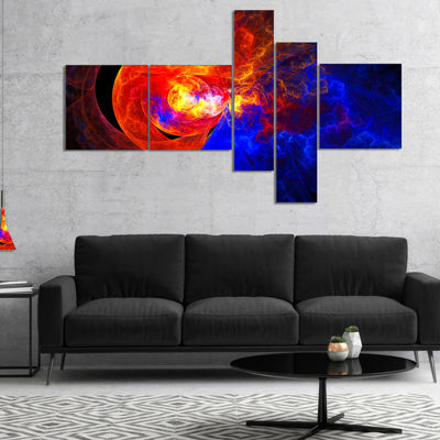 Designart Sunrise On A Distant Planet Multipanel Abstract Canvas Art Print - 4 Panels
