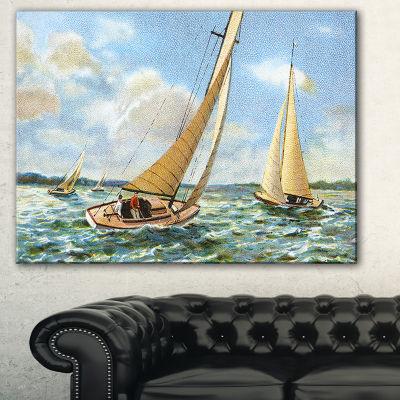 Designart Vintage Boats Sailing Seascape PaintingCanvas Art Print - 3 Panels