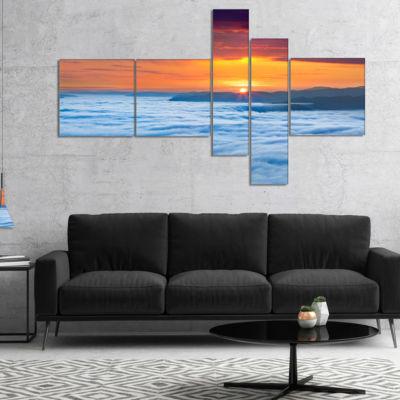 Designart Sunrise Over Foggy Ocean Multipanel Landscape Photography Canvas Art Print - 5 Panels