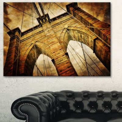 Designart Vintage Brooklyn Bridge Contemporary Canvas Art Print