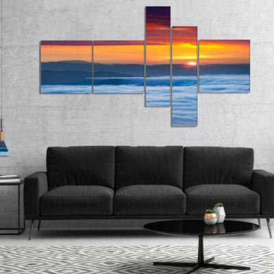 Designart Sunrise Over Foggy Ocean Vertical Multipanel Landscape Photography Canvas Print - 5 Panels