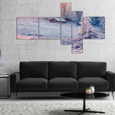 Designart Sunrise Over Foggy Winter Forest Multipanel Landscape Canvas Art Print - 5 Panels