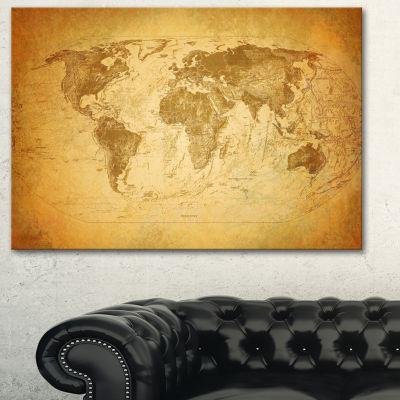 Designart Vintage Classic Map Contemporary CanvasArt Print